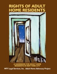 Rights of Adult Home Residents - MFY Legal Services