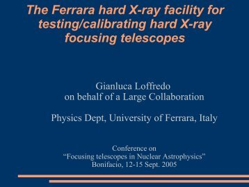 The Ferrara hard X-ray facility for testing/calibrating hard X- - Cesr