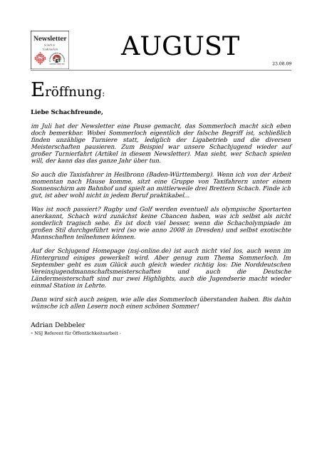August 09 - Niedersächsische Schachjugend