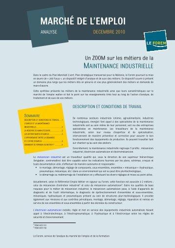 Maintenance industrielle - Le Forem