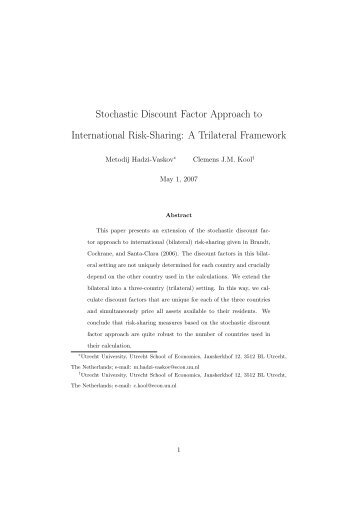 Stochastic Discount Factor Approach to International Risk-Sharing ...