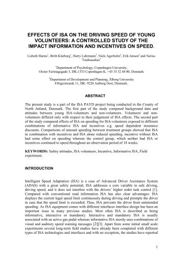 effects of isa on the driving speed - VBN - Aalborg Universitet