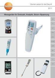 Messgeräte für Drehzahl, Analytik, Strom-/Spannung - Testo AG