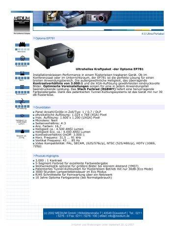 4.0 Ultra-Portabel Optoma EP781 Ultrahelles Kraftpaket -der ...