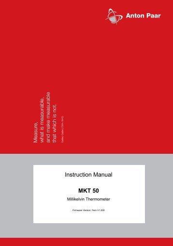 Instruction Manual MKT 50 - CALIBRATION ONLINE