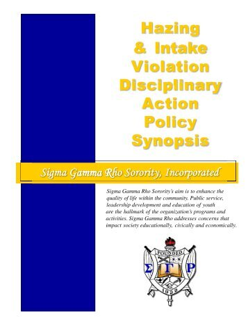 What is Hazing? - Sigma Gamma Rho Sorority, Inc.