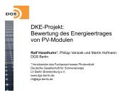 DKE Projekt DKE-Projekt: Bewertung des Energieertrages von PV ...