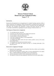 Kinross Wolaroi School Homework and Assignment Policy Years 7 - 9