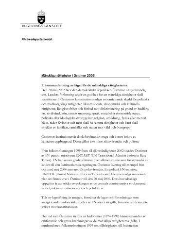 1. Sammanfattning av läget för de mänskliga rättigheterna Den 20 ...
