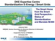 DKE Expertise Centre Standardization E-Energy / Smart Grids