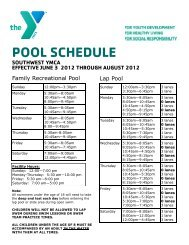 POOL SCHEDULE - Southwest YMCA