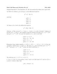 Math 240 Homework Solution Set #1 Fall, 2009 Assigned ...
