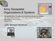 Army Geospatial Organizations & Systems - West Point