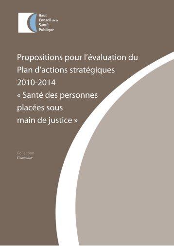 Propositions pour l'évaluation du Plan d'actions stratégiques 2010 ...