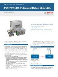 FVT/FVR110, Video und Daten über LWL - Bosch Security Systems
