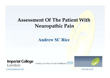 Assessment Of The Patient With Neuropathic Pain - Faculty of pain ...
