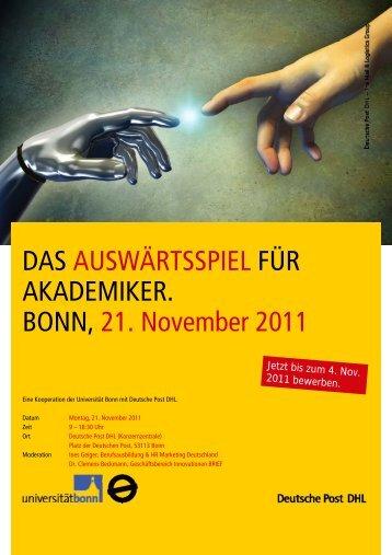 DAS AUSWÄRTSSPIEL FÜR AKADEMIKER. BONN, 21. November ...