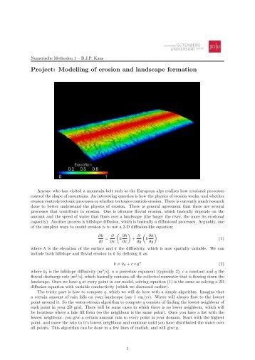 Modelling of erosion. - am Institut für Geowissenschaften