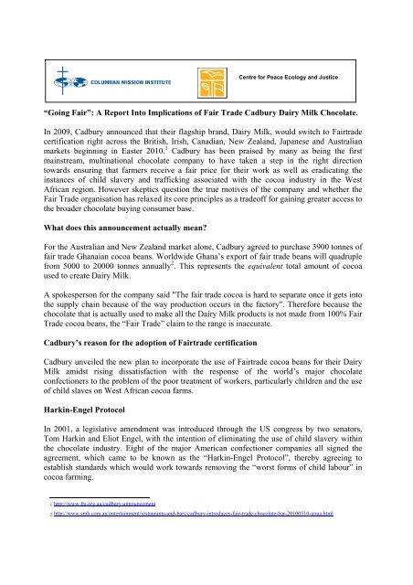 A Report Into Implications of Fair Trade Cadbury Dairy Milk