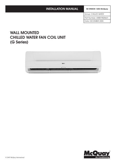WALL MOUNTED CHILLED WATER FAN COIL UNIT (G Series)