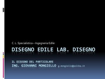 Il disegno del particolare nell'edilizia - Didattica ing. g. mongiello