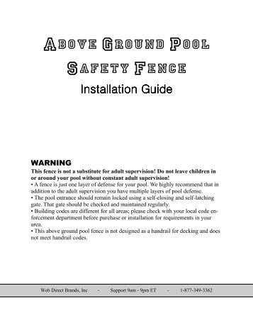 Above Ground Pool Safety Fence - Web Direct Brands Inc