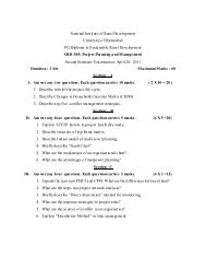 PGDSRD Third Batch - Second Semester -Model Question Papers