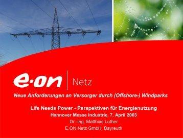 Neue Anforderungen an Versorger durch (Offshore-) Windparks ...