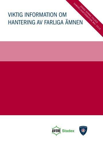 VIKTIG InformaTIon om hanTerInG aV farlIGa ämnen - Stadex