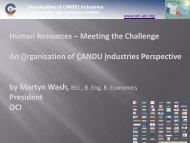 Human Resources - Organization of CANDU Industries