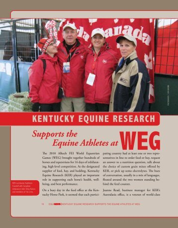 Kentucky Equine Research Supports the Equine Athletes at WEG