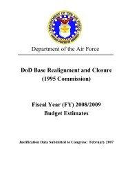 BRAC 1995 Commission, FY08 - Air Force Financial Management ...