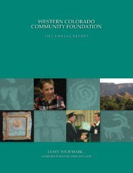 2012 Annual Report - Western Colorado Community Foundation