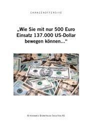 """""""Wie Sie mit nur 500 Euro Einsatz 137.000 US-Dollar bewegen ..."""