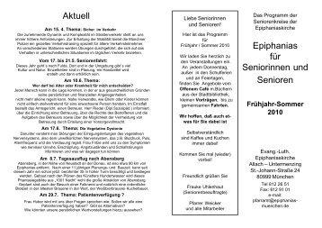 Epiphanias für Seniorinnen und Senioren Aktuell