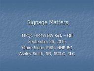 Signage Considerations - TIPQC