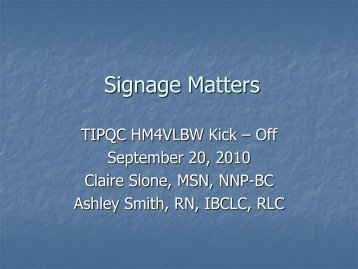 Signage Considerations - TIPQC
