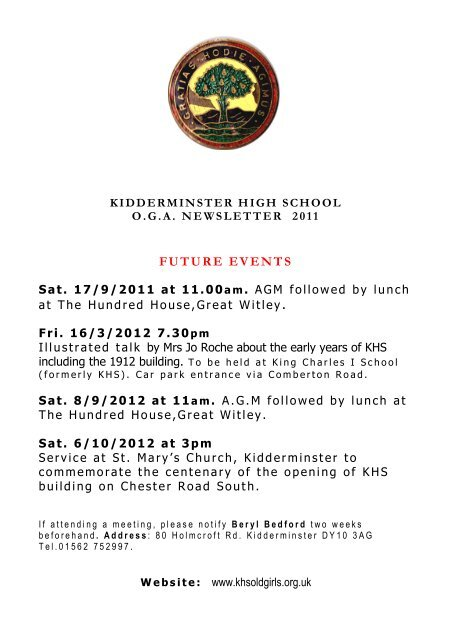 2011 Newsletter Kidderminster High School For Girls Old Girls
