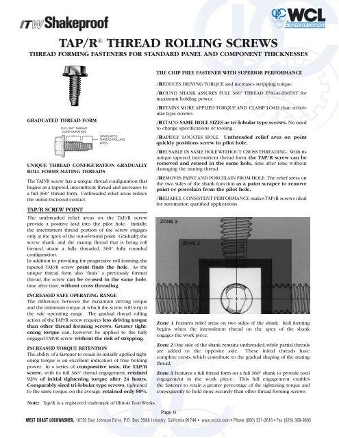 Tap/r thread rolling screws - West Coast Lockwasher - WCL
