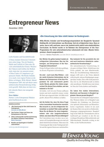 Entrepreneur News - Home - Ernst & Young - Schweiz