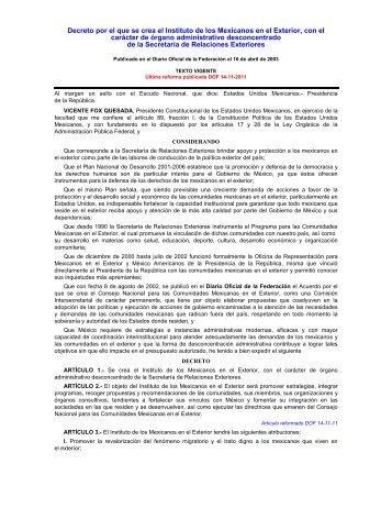 Decreto por el que se crea el Instituto de los Mexicanos en el ...