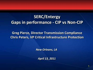 CIP vs Non-CIP - Entergy - SERC Home Page