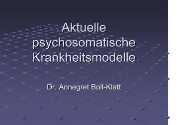 Aktuelle psychosomatische Krankheitsmodelle