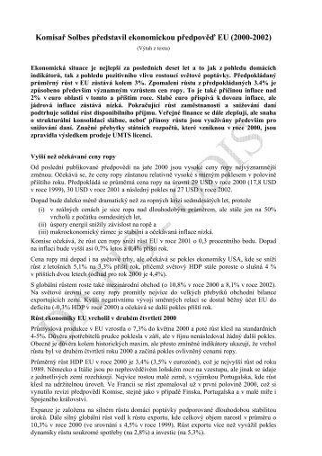 Komisař Solbes představil ekonomickou předpověď EU ... - edice
