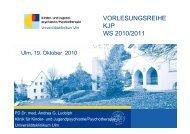 Psychotherapie: verbal nonverbal - Universitätsklinikum Ulm