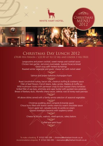 Christmas Day Lunch 2012 MENU 2012 - White Hart Hotel