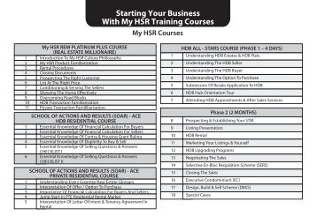 Starting Your Business With My HSR Training Courses