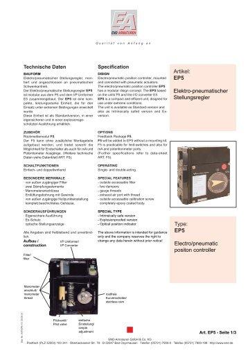 Artikel: EP5 Elektro-pneumatischer Stellungsregler Type: EP5 ...