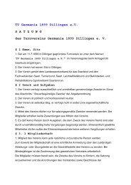 TV Germania 1899 Dillingen e.V. S A T Z U N G des Turnvereins ...