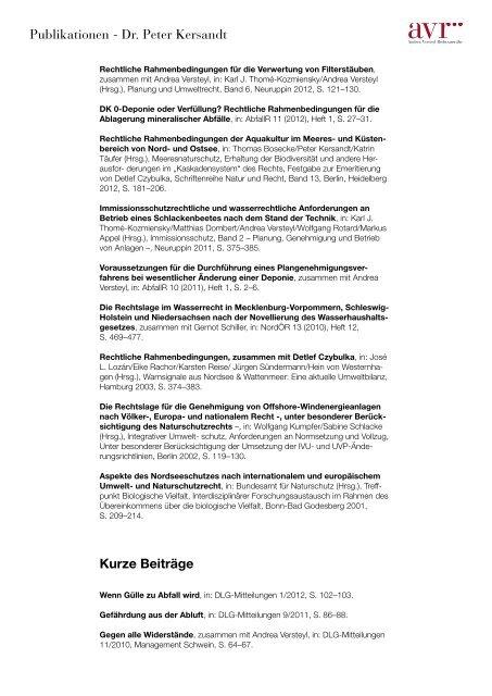 Aufsätze - Andrea Versteyl Rechtsanwälte